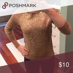 Gold Sparkle LOFT Sweater Perfect New Years Sweater! In great condition! Will accept all reasonable offers! LOFT Sweaters