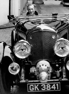 """Ian Fleming and a 4 1/2 Litre """"Blower"""" Bentley. pinned by http://FlanaganMotors.com"""