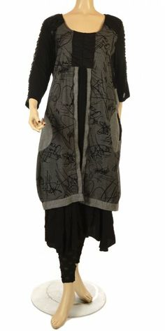Lissmore Funky Black/Grey Layered Squiggle Dress