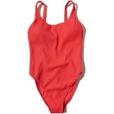 Hollister Ribbed High-Leg One-Piece Swimsuit (598.915 IDR) ❤ liked on Polyvore featuring swimwear, one-piece swimsuits, swimsuits, red, one piece bathing suits, one piece swim suit, 1 piece bathing suits, one-piece swimwear and red swimsuit