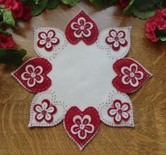 Valentine Flowers Wool Applique Penny Rug Candle Mat E-Pattern