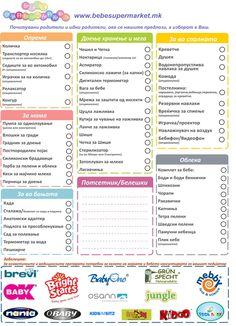 СПИСОК ЗА НОВОРОДЕНЧЕ Почитувани родители и идни родители, ова се нашите предлози,а изборот е Ваш. www.bebesupermarket.mk Списокот за новороденче можете да го испечатите кликнувајки на следниот линк http://bebesupermarket.mk/wp-content/uploads/2014/07/spisok.pdf