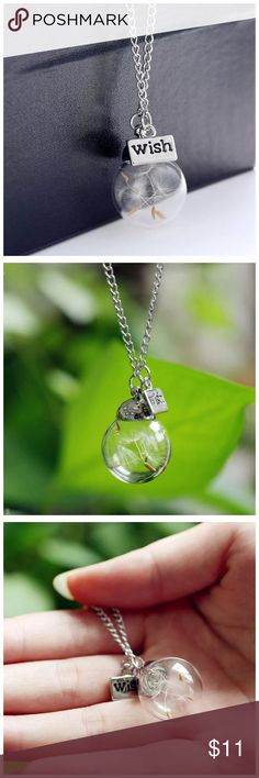 """DF6 Make A Wish Botanical Dandelion Charm Necklace ‼️PRICE FIRM‼️   ABSOLUTELY FABULOUS! Silver color chain. This is sure to dress up even the most basic outfit! Approximately 24"""". Please check my closet for many more items including designer clothing, scarves and much more. Jewelry Necklaces"""