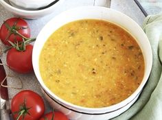 Courgette (zucchini) and tomato soup. Simple and comforting. Bbc Good Food Recipes, Vegetarian Recipes, Cooking Recipes, Healthy Recipes, Healthy Soups, Savoury Recipes, Cooking Tips, Yummy Food, Slow Cooker Bolognese