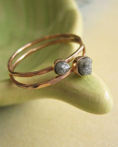 Rough Diamond Stacking Rings - Kate Szabone Jewellery on Etsy