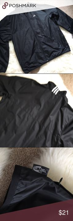 NEW XL Adidas Jacket climashell windbreaker mens New without tags. Adidas climashell windbreaker track jacket in all black except logo and the classic 3 stripes on the back neck. Size XL not lined Adidas Jackets & Coats Windbreakers