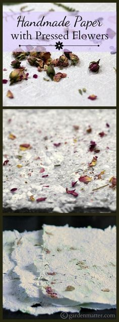 Learn how to easily make your own handmade paper from scrap paper and press flowers. #artsandcraftswithpaper,