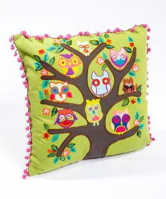 This colorful pillow is an absolute hoot! This plush piece's darling design and durable construction are sure to complement any room while making an ideal comfy-time companion. 16'' W x 16'' HMachine washImported
