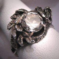 Vintage White Sapphire Wedding Ring Estate by AawsombleiJewelry, $595.00