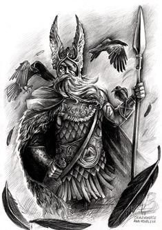 Odin, god of War, crazycheese Ann Kovaleva Viking Warrior Tattoos, Viking Tattoo Sleeve, Viking Tattoo Symbol, Lion Tattoo Sleeves, Norse Tattoo, Viking Tattoo Design, Norse Mythology Tattoo, Greek Mythology Tattoos, Scandinavian Tattoo