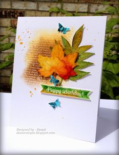 Dee's Art Utopia: Mixed Media Card challenge - Autumn colors Vibrant and gorgeous!