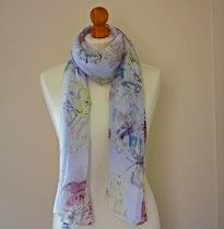 White Scarf with Butterfly Print