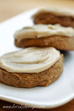 The frosting is the star of these cookies, and it's a nice change from the cream cheese frosting that often accompanies pumpkin desserts (I love that version too, though).  Really, they're more lik...