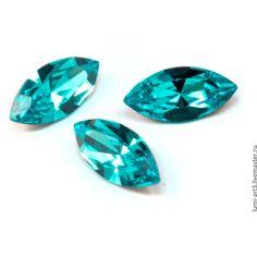 Navette 15х7 Light Turquoise бирюзовый 263 Кристаллы Сваровски ❤ liked on Polyvore featuring decor