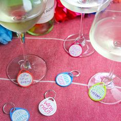 Life hack: Key Tag labels can also be used as wine charms at parties so you don't mix up your drink. Fun, easy, cheap, and totally customizable! Diy Key Projects, Plastic Tags, Key Tags, Round Labels, Wine Charms, Fun Facts, Parties, Drink, Easy