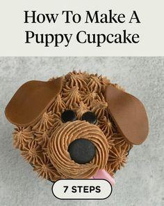 Puppy Cupcakes, Fancy Cupcakes, Puppy Cake, Cupcake Videos, Cupcake Recipes, Dog Food Recipes, Cupcake Cakes, Puppy Birthday Cakes, Puppy Birthday Parties