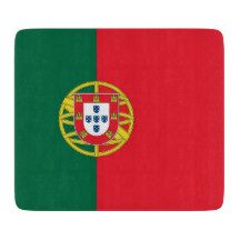 Small glass cutting board with flag of Portugal