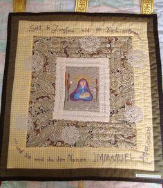 """Wanddeko - Wandkunst- Quilt """"Maria mit Kind"""" - ein Designerstück von Wilhelmine-Wiesenkraut bei DaWanda"""