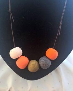 Orange and White Polymer Clay Necklace by Jesshandmadegoodies