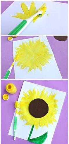 Make a Sunflower Craft using a Toothbrush – Crafty Morning - diy kids crafts Kids Crafts, Summer Crafts For Kids, Toddler Crafts, Spring Crafts, Projects For Kids, Art For Kids, Summer Kids, Kids Fun, Summer Art Activities