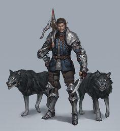 Kai, the bounty hunter, half-elf, half elf, ranger, warrior, rogue, great outfit, rpg, DnD, D&D, RPG, fantasy character by Seok Jeon on ArtStation at https://www.artstation.com/artwork/8zROO