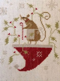 Completed Cross Stitch Christmas Merry Mouse with Thy Needle Thread | eBay