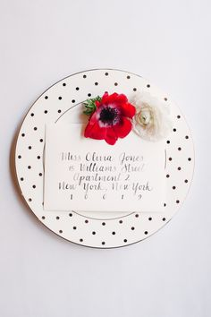 polka dot plates + fun invites