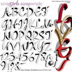 ScrapSimple Alpha Templates: 3D Alphabet Curvy - Commercial License, designed by Doris Castle, Scrap Girls, LLC digital scrapbooking product designer