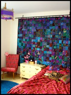 patchwork curtain--See I'm not the ONLY one who likes patchwork curtains!!!! haha