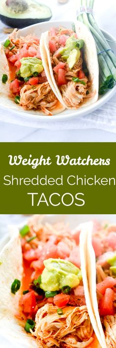 Weight Watchers Shredded Chicken Tacos has four simple ingredients thats made in your slow cooker for a fast and kid friendly weeknight meal! Weight Watchers Shredded Chicken Tacos has four simple ingredients thats made Ww Recipes, Slow Cooker Recipes, Mexican Food Recipes, Healthy Recipes, Recipies, Healthy Meals, Weight Watcher Dinners, Weight Watchers Chicken, Clean Eating