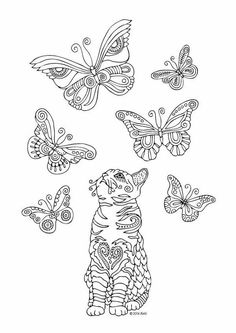 Sketch for anti-stress adult coloring book in zen-tangle style. Vector illustration for coloring page. Cat Coloring Page, Printable Adult Coloring Pages, Animal Coloring Pages, Coloring Book Pages, Coloring Sheets, Butterfly Drawing, Cat Quilt, Quilling Patterns, Cat Colors