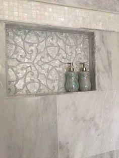 Adair Mother of Pearl & Marble Tile Bathroom Niche, Bathroom Red, Bathroom Interior, Bathroom Renovations, Shower Niche, Spa Master Bathroom, Bathroom Ideas, Tuscan Bathroom, Tiny Bathrooms