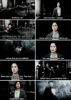 Fantastic Beasts - Inside the Obscurus, Credence reaches out to Tina, the only person who has ever done him an uncomplicated kindness. He looks at Tina, desperate and afraid. He has dreamed of her ever since she saved him from a beating.