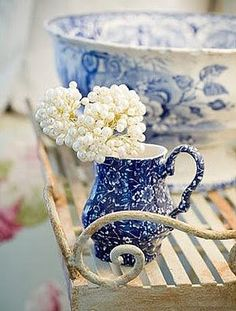 Blue pitcher and bowl