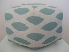 "18"" Ottoman Pouf Floor Pillow Jade Natural Ikat. $85.00, via Etsy."