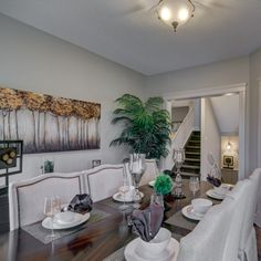 Madison E Lifestyle Room - a gorgeous dining room set up! House Plans, Home, Basic Shower Curtain, Show Home, Dining Room Set, Bedroom, Room, Dining, Dining Room