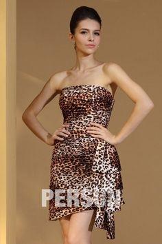 Robe de soirée courte léopard avec drapé latéral
