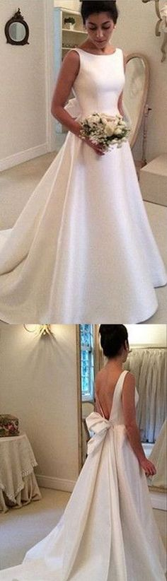 Satin Wedding Dresses,A-Line Formal Wedding Dress, Simple Wedding Dress, Backless Wedding Dresses, Elegant Vintage Women Wedding Gown 2017