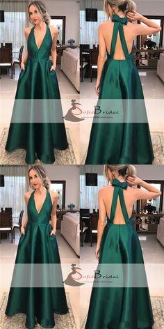 Green Satin V-neck Long A-line Prom Dresses, Simple Elegant Prom Dresses, Prom Dresses, PD0409