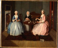 A Family in an Interior Taking Tea, c.1740 (oil on canvas), English School