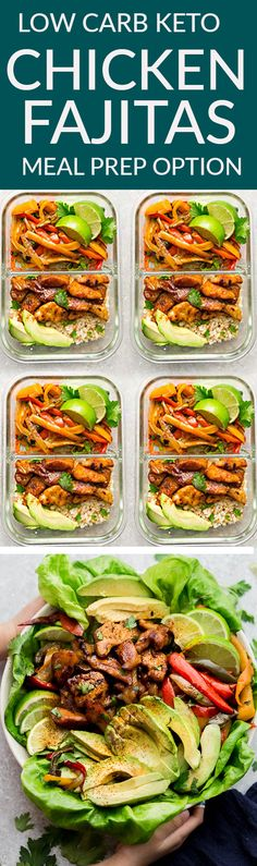 Low Carb Keto Chicken Fajitas – a quick, simple and tasty one pan meal perfect for busy weeknights. Best of all, chicken cooks up tender, juicy and is ready in about 30 minutes with minimal clean-up with red, orange, yellow and green bell peppers. A delicious weeknight meal or for any Mexican fiesta night! Great for Sunday meal prep for work or school lunchboxes. #mealprep #keto #fajitas #sheetpan #lowcarb #mexican #salad