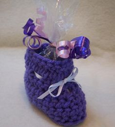 Crochet Pattern to make bootie candy cups as baby shower favors