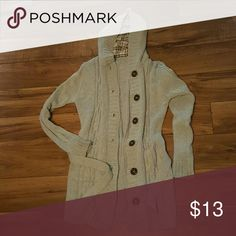 Gray hooded cardigan Comes with buttons and a sash to tie around the waist. Very comfortable Jackets & Coats