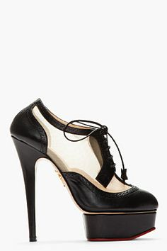 Charlotte Olympia Black Brogued Leather Astaire Platform Heels for women | SSENSE