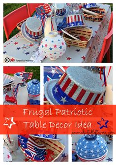 Frugal patriotic table decor ideas for Memorial Day and the 4th of July