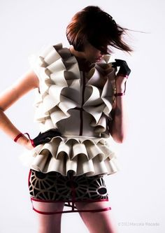 Dress with sculptural 3D ruffle structure made by folding & curving rubberised materials - shape & volume; architectural fashion design // Danielly Narimato