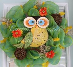 Easter Spring mesh wreath - Adorable Owl wreath just in time for by CustomWreathsAndMore, $75.00