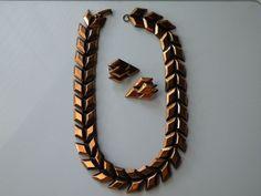 Renoir copper necklece, clip-on copper earrings. Set. 1950s #Renoir
