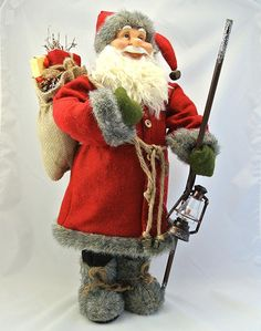 Gisela Graham Christmas glitter Santa with toys stocking hanger 18cm