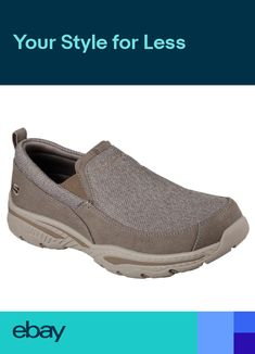 56fd054dc904 Skechers shoes Men Taupe Memory Foam Dressy Casual Canvas Denim Loafer Moc  65346